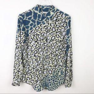 Equipment | Long Sleeve Silk Animal Print Blouse